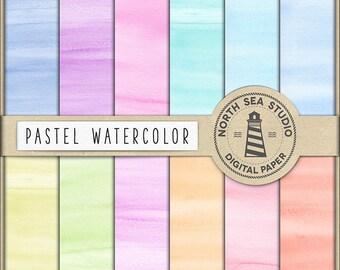 BUY 5 FOR 8, Pastel Watercolor Digital Paper, Pastel Watercolor Backgrounds, Watercolor Papers, Hand Painted Scrapbook Paper