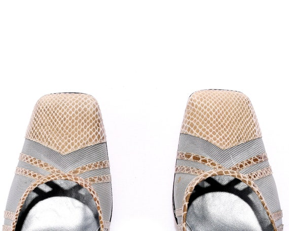 Beige Snakeskin Shoes Shoes size Heels 37 in Pattern UK US Pumps 70s Leather EUR 6 Women Italy Vintage Sheer Heels 5 Classy Made 4 Sole vwqC8CPxn