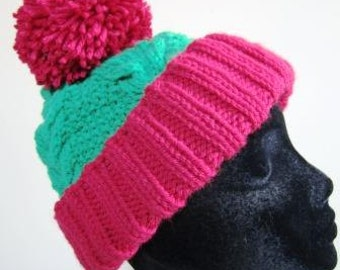 Christmas Hat Cable Pom Pom Green Red Hand Knit Unisex Holiday - Size Medium