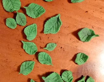 28 Dainty gum paste leaves / Edible cake decorations