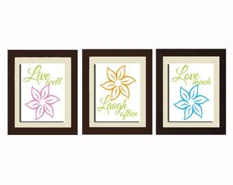 Live Well, Laugh Often, Love Much Wall Art, Bathroom Decor, Living Room Wall Art, Living Room Decor Bathroom Wall Art Floral Wall Art