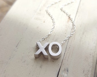 Small XO necklace sterling silver dainty chain hugs and kisses minimalist jewelry mothers day gift charm necklace