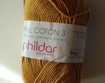 Pincushion 50 g of wool Phil cotton Phildar 3 - color Gold - 2.5-3 needles