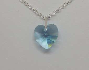 Sterling Silver Swarovski Crystal Light Turquoise Heart Necklace (December Birthstone)