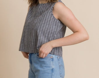 Vintage 90s Black Gingham Cropped Tank
