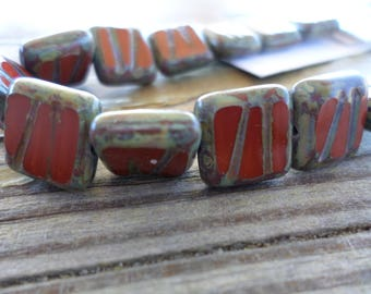 Czech Squares Beads 10x10 mm 12 pc strand