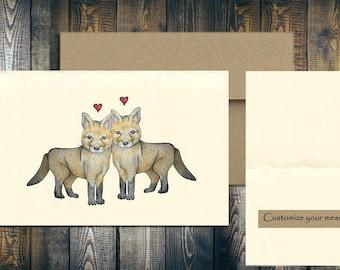 Fox Card, Fox Love, Fox Art, Valentine's Card, Custom Valentines Card, Animal Love, Love Card, Animal Art Card, Love You Card, Fox Drawing