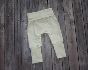 Miniloones,Grow With Me,Cream Baby Pants, Cloth Diaper Pants,Baby Leggings,Baby Maxaloones, Toddler Pants,Adjustable Pants,Evolution Pants