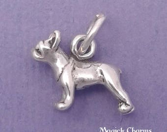 BOSTON TERRIER Charm .925 Sterling Silver French Bulldog, Frenchie Miniature Small Dog -  lp3542