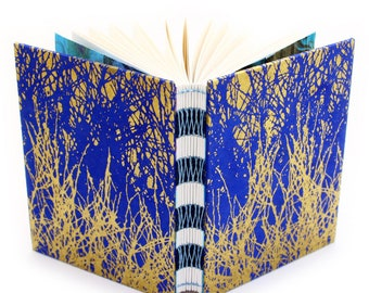 Indigo and Gold Branches Journal - French Link Journal - 144 unlined pages - Handmade by Ruth Bleakley - each book has unique cover pattern