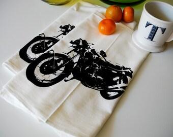 Screen Printed Vintage Motorcycle Tea Towel Pair- Dish Towel- Motorcycle Towel- Bar Towel- Flour Sack Towel- Kitchen Towel- Towel Pair