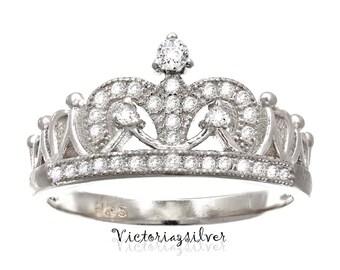 Sterling Silver Crown Ring ,CZ Ring,Tiara Ring,Princess Ring
