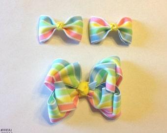 Pastel Striped Barrette Bow Set