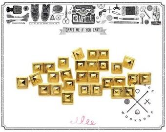 50PCS 10MM Gold BOHEMIAN PYRAMID studs Glam rock Biker NAILHEADS Leathercraft