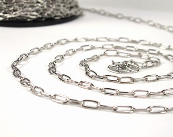 4.5x10.5mm long oval link chain, silver finished, 16g wire, sold by the yard, 10mm link chain (2515ch)