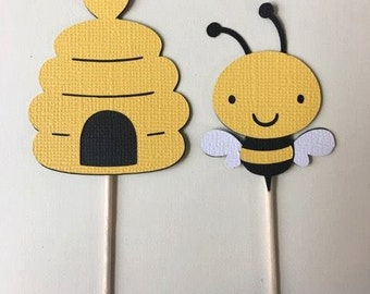 Bees and Bee hive cupcake toppers. Set of 24 Baby shower, birthday party.
