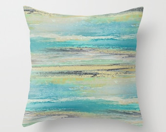 Abstract Throw Pillow Cover Teal Aqua Tan Black Grey Green Modern Home Decor Living room bedroom accessories Cushion Decorative Pillow Cover
