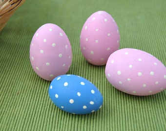Polka dot Easter eggs, 4 hand painted wood eggs, 3 large pink, one small blue polka dotted egg Easter egg