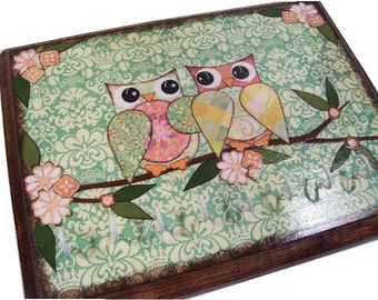 Key Hook -  Wall Plaque - Jewelry Hook - Decoupaged 9 x 7  Owls and Other Fun Designs- MADE TO ORDER