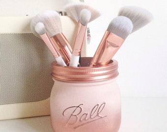 Ombre Ball mason jar in pink and copper ombre - desk decor, pen pot, makeup brush holder, wedding centrepiece, party decor