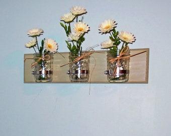 Flower Vases, Mason Jar Organizer, Bathroom Decor, Housewarming Gift, Garage Storage, Farmhouse Decor, Wall Mount Mason Jar, Country Decor,