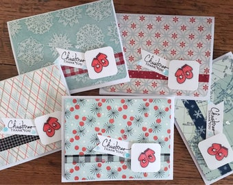 Christmas Thank You Cards set of 5 - Mitten Cards - Red Mitten Thank You Cards
