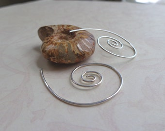 Silver Swirl Earrings, Nautilus Shell Jewelry, Hammered Sterling Spiral Earrings