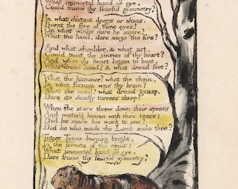 The Illuminated Prints of William Blake. From Songs of Experience: The Tyger, Page and Poem, c.1794 Edition. Fine Art Reproduction.