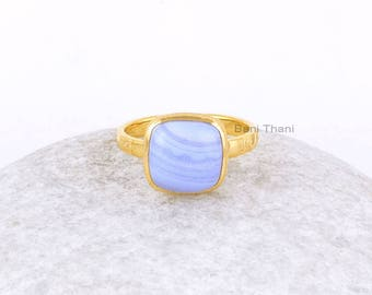 Blue Lace Agate Ring-Blue Lace Agate 10x10 Cushion Sterling Silver Gemstone Ring-Gold Plated Ring-Unique Silver Rings-Rings For Women
