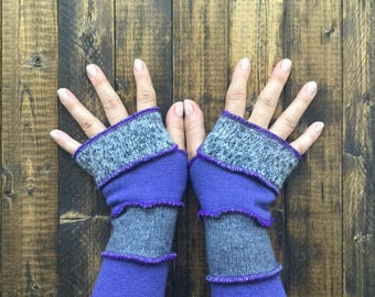 Purple Arm Warmers Made from Recycled Sweaters