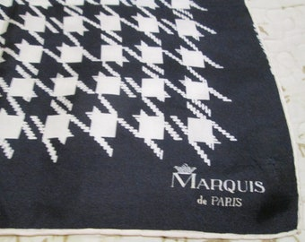 Vintage Silk Scarf Marquis de Paris - Black & White - Houndstooth Pattern