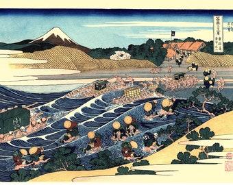 "Japanese Ukiyo-e Woodblock print, Hokusai, ""The Fuji from Kanaya on the Tōkaidō"""