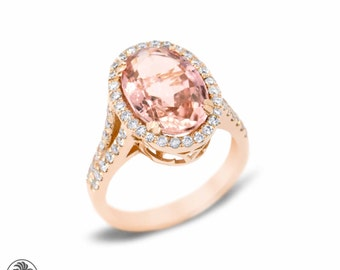 Morganite and Diamond Engagement Ring, Morganite Engagement Ring, Engagement Ring, Halo Engagement Ring, Blushing Rose Collection | LDR02205
