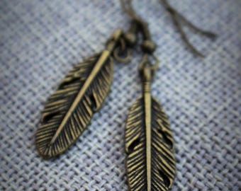 Simple Brass Feather Earrings