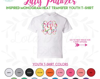 Lilly Pulitzer Inspired Monogram Heat Press Youth T-Shirt