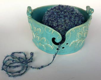 Ceramic yarn bowl // Turquoise Pottery Yarn Bowl with Birds Branches and Leaves // hand made knitting bowl // gift for knitter