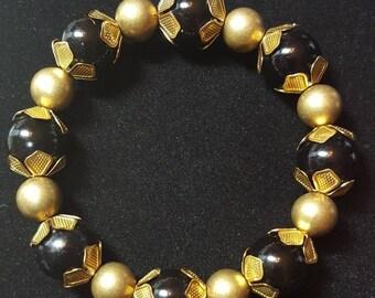 B&G beaded raw brass bangle