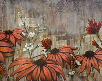 Wildflower Art, titled How They Grow, Limited Edition, Flower Mixed Media Art, Mixed Media Art, Print MOUNTED to wood panel