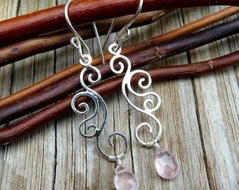 Rose Quartz Earrings - Chandelier Earrings - Dangle Earrings - Briolette Earrings - Silver Earrings - Swirl Earrings - Pink Earrings