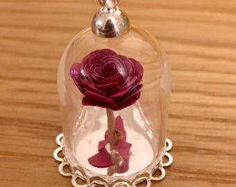 Beauty and The Beast Rose pendant