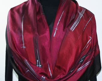Silk Scarf Burgundy Black Silver Hand Painted Silk Shawl SANGRIA SUNSET in 2 SIZES. Handmade Birthday Gift, Christmas Gift. Painting on Silk