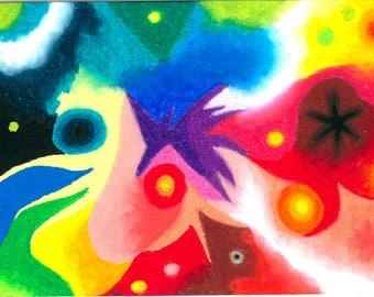 Convergence, oil pastel, 21x29.7
