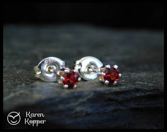 January birthstone earrings - Natural red almandine garnet gemstone earrings, 3 mm, sterling silver 0.925, January birthstone, ear stud 103