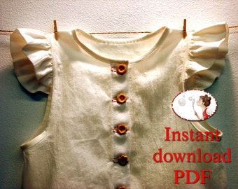 Sewing pattern flutter sleeve girl blouse, girl top, 12m, 18m, 2t, 3t, 4t, 5t, 6t, EU sizes 86 to 116, pdf pattern, instant download