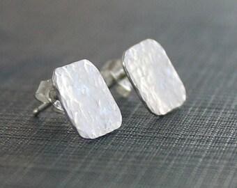 Silver Square Earrings, Sterling Silver Post Earrings, Silver Hammered Earrings, Modern Earrings, Handmade Post Earrings, Gift for Her