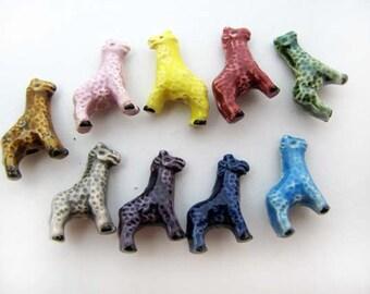 10 Tiny Ceramic Beads - Mixed Giraffe - CB700