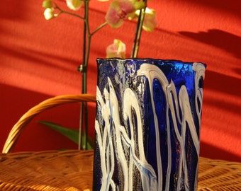 Signed glass vase cobalt blue and white / textured Pollock pattern / 1970s