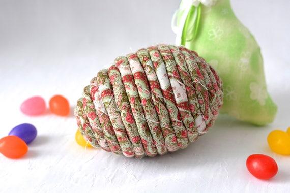 Home Decor Egg Ornament, Handmade Green Easter Egg Decor, Artisan Hand Coiled Fiber Spring Egg, Floral Easter Basket Filler