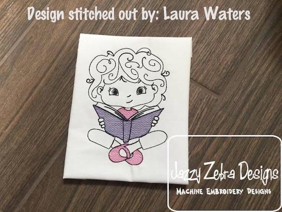 Girl reading sketch embroidery design - girl embroidery design - reading embroidery design - book embroidery design - school embroidery
