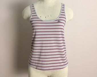 80s Tiny Tank Top by Jordache- Gray & Pink Striped Summer Shirt- New Wave Punk Trashy Beach Pool Sleeveless Small Roller Disco